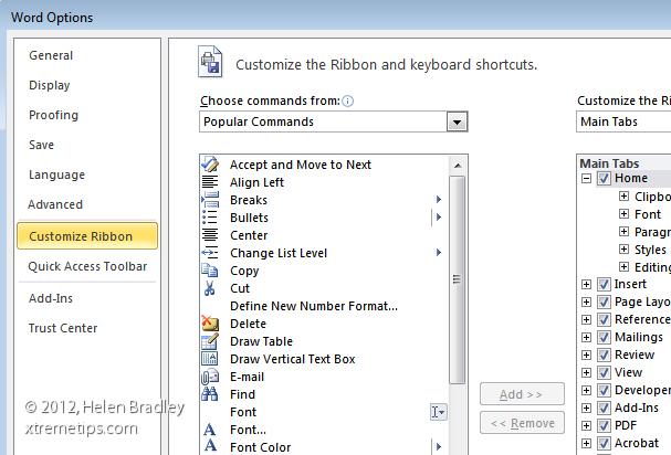 customizing ribbon tabs