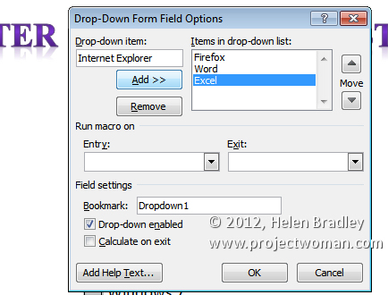 drop down list control panel